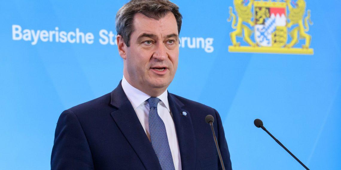 Ministerpräsident Markus Söder bei der Pressekonferenz zu Ausgangsbeschränkungen in Bayern. (Foto: Bayerische Staatsregierung)